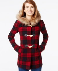 Coffeeshop Faux Fur Trim Plaid Duffle Coat Red Blue Plaid