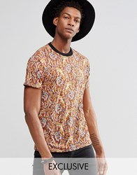 Reclaimed Vintage Festival T Shirt In Paisley Print Brown