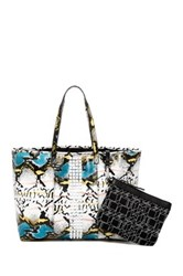 L.A.M.B. Jinger Leather Tote And Pouch Multi