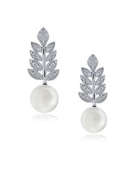Lord And Taylor Faux Pearl Cubic Zirconia Sterling Silver Leaf Drop Earrings