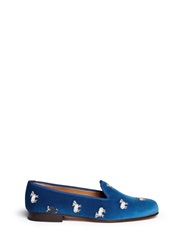 Stubbs And Wootton Sheep Embroidery Velvet Slip Ons Blue