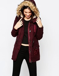 Bellfield Melton Contrast Parka Burgundy Red