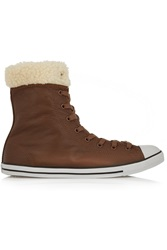 Converse Dainty Shearling Trimmed Textured Leather High Top Sneakers Brown