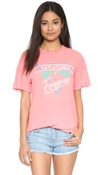 Wildfox Couture Vacation Mode Tee Neon Sign Coral