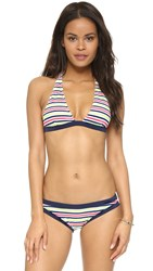 Milly Marina Crochet Stripe Capri Bikini Top Multi