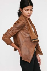 Silence And Noise Silence Noise Riley Drapey Vegan Suede Jacket Brown