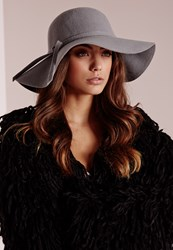 Missguided Dory Bow Detail Floppy Hat Grey Grey