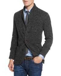 Brunello Cucinelli Donegal Three Button Cardigan Jacket Anthracite