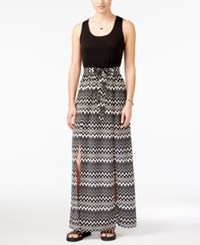 City Triangles City Studios Juniors' Printed Belted Maxi Dress Black White