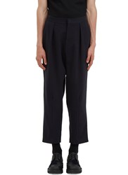 J.W.Anderson Oversized Cropped Rear Pleat Pants Navy