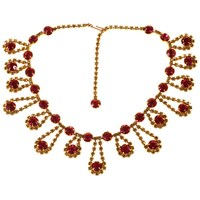 Alice Joseph Vintage 1950S Gold Plated Diamante Necklace Lemon Cerise
