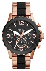 Fossil 'Nate' Chronograph Bracelet Watch 46Mm Rose Gold Black