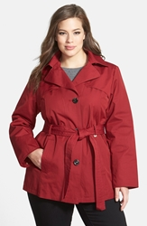 Short Trench Coat With Detachable Hood Plus Size Ruby Red