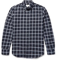 Club Monaco Slim Fit Button Down Collar Windowpane Checked Cotton Flannel Shirt Navy