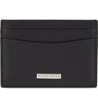 Hugo Boss Signature Textured Leather Card Holder Black