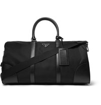Prada Textured Leather Trimmed Shell Holdall Black