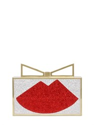 Sara Battaglia Swarovski Crystals Lips Satin Clutch
