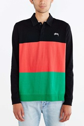 Stussy 3 Tone Long Sleeve Polo Shirt Black