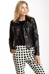 Kenneth Cole Stand Up Collar Faux Leather Moto Jacket Black