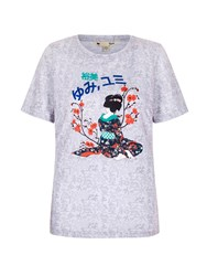 Yumi T Shirt With Geisha Print Grey
