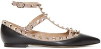 Valentino Black And Pink Rockstud Cage Flats
