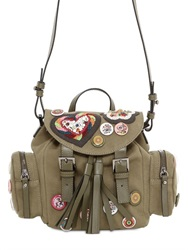 Red Valentino Patched Cotton Canvas Backpack