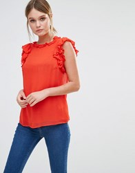 Oasis Ruffle Sleeveless Shell Top Red