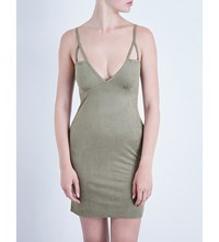 Hot Mess Cage Detail Suedette Dress Army