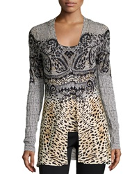 Alberto Makali Beaded Lace Print Cardigan And Shell Set Tan Black
