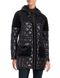 Belle By Badgley Mischka Velour Trimmed Quilted Down Coat Black
