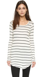 Chaser Long Sleeve Striped Thermal Tee Vanilla Black