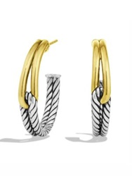 David Yurman Labyrinth Hoop Earrings With Gold Silver Gold