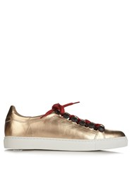 Toga Stud Embellished Metallic Leather Trainers Gold