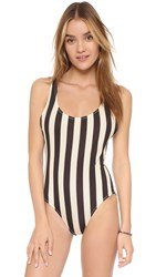 Solid And Striped Anne Marie One Piece Swimsuit Black Cream Stripe