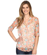 Kut From The Kloth Anson Long Sleeve Top Salmon Women's Long Sleeve Button Up Orange
