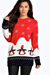 Boohoo Willow Penguin Christmas Jumper Red