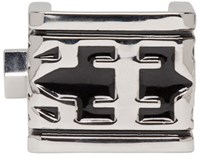 Ktz Silver And Black Bold Logo Ring