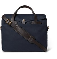 Filson Original Leather Trimmed Twill Briefcase Blue