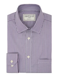 Howick Cortland Wide And Thin Stipe Shirt Purple