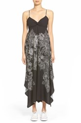 Hinge Paisley Print Maxi Dress Gray