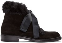 Saint Laurent Black Rabbit Fur Army Boots