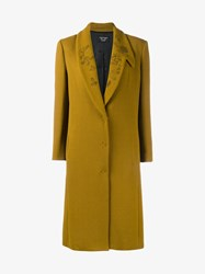 Creatures Of The Wind Floral Lapel Virgin Wool Blend Coat Mustard Black