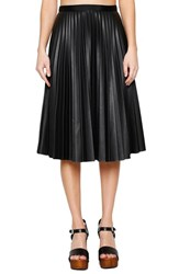 Willow And Clay Women's Sunburst Faux Leather Midi Skirt