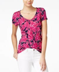 Maison Jules Short Sleeve Floral Print T Shirt Only At Macy's Blu Notte Combo