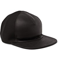Balmain Leather And Cotton Baseball Cap Black