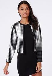 Missguided Monochrome Stripe Cropped Blazer White