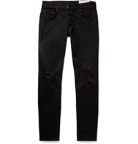 Rag And Bone Skinny Fit Tapered Fit 1 Distressed Stretch Denim Jeans Black