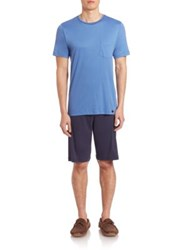 Hanro Sergio Cotton Short Pajama Set Regatta Blue