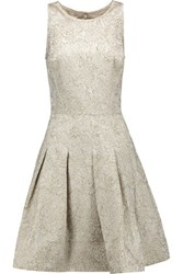 Oscar De La Renta Pleated Metallic Jacquard Dress Gold
