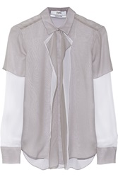 Prabal Gurung Layered Crinkled Silk Chiffon Blouse